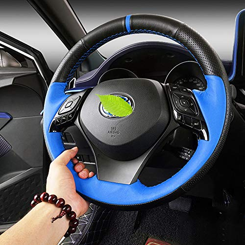 - BEHAVE Toyota chr Steering Wheel Cover ,Hand Sewing,Blue and Black Stitching,fit for Toyota C-HR 2018 2019 High or Low Configuration C-HR Models