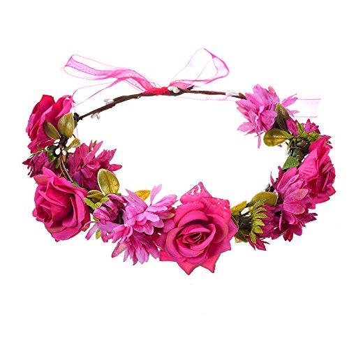 Bohemian Stijl Meisje Bridal Rose Bloem Hoofdbanden Krans Haaraccessoires Voor Vrouwen Bloemen Haarband Fijne Guirlande Hoofddeksels