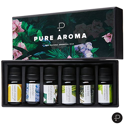 Essential-Oils-by-PURE-AROMA-100-Pure-Therapeutic-Top-6-Aromatherapy-Oils-in-1-Box-10-Ml-Gift-Set-6-Pack-Eucalyptus-Lavender-Lemon-grass-Orange-Peppermint-Tea-Tree