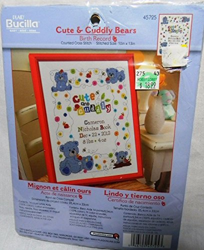 Bucilla Counted Cross Stitch Birth Record Kit, 10 by 13-Inch, 45725 Cute & Cuddly Bear
