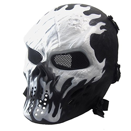Airsoft Paintball Full Face Skull Skeleton Mask, Tactical Military War Game CS Protective Gear Equipment, Halloween Costums (Contact Lenses Halloween Safe)