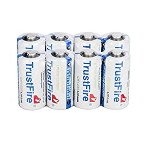 8 pcs TrustFire 3V CR123A 1400mAh Lithium Battery Cell Batteries For Flashlight