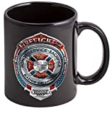 Coffee Cup with Fire Honor Service Sacrifice Logo - Stoneware, Firefighter Mug