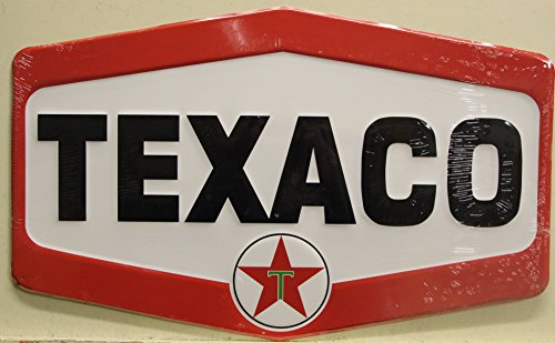 TEXACO Logo large Metal Sign gasoline and motor oil a texas co. embossed die cut