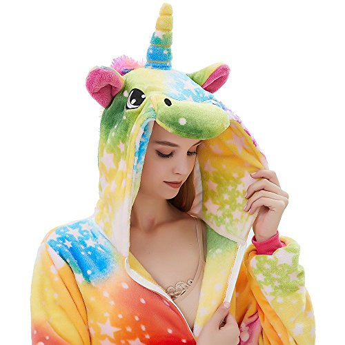 ABENCA Fleece Onesie Pajamas for Women Adult Cartoon Animal Unicorn Christmas Halloween Cosplay Onepiece Costume, Colorful Rainbow New, S -