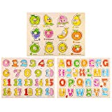 M-Aimee Wooden Peg Puzzle for Toddlers (Set of 3) Numbers, Letters and Fruit