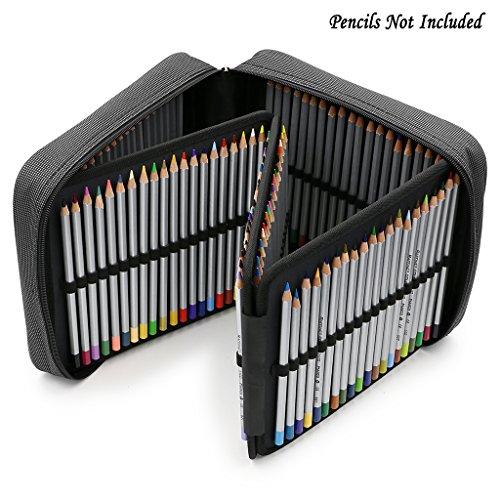BTSKY 160 Slots Pencil Case - -Oxford Fabric Pencil Organizer Handy Pencil Wrap Holder for Prismacolor Watercolor Pencils, Crayola Colored Pencils, Marco Raffine Pencils (Grey) ()