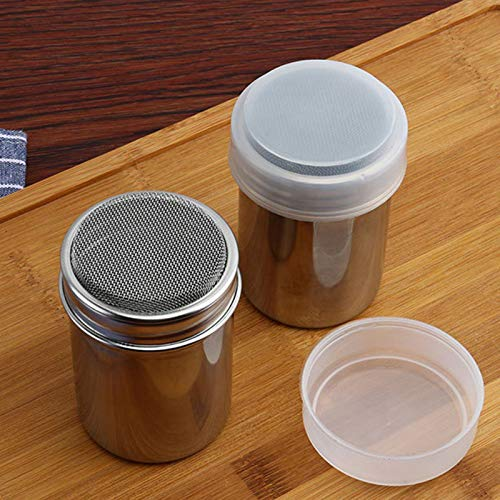 Dredge Shakers Stainless Steel Chocolate Shaker Icing Sugar Powder Flour Powder Cocoa Coffee Sifter Shaker with cover Bakeware (6.8x6.8x9.5 cm)