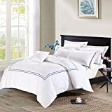 white and blue bedding - Deep Sleep Home 3pc Duvet Cover Set, 40s Cotton Sateen, Navy Blue Embroidered Lines, 250 Thread Count Percale, White Background, Double Full, Queen, King Size (Queen, Navy)