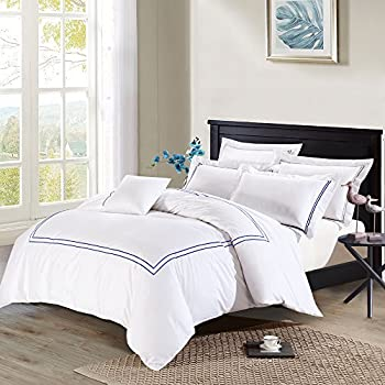 Deep Sleep Home 3pc Duvet Cover Set, 40s Cotton Sateen, Navy Blue Embroidered Lines, 250 Thread Count Percale, White Background, Double Full, Queen, King Size (Queen, Navy)