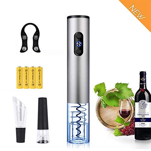 - DOTSOG Electric Wine Opener with Charger- Rechargeable Corkscrew Wine Accessories Father's Day/Christmas/Valentine's Day Gift Set Holiday Kit with Batteries and Foil Cutter
