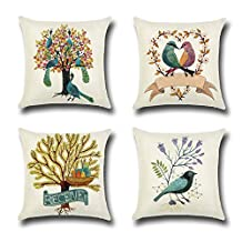 """FashionMall Pack of 4 Retro Vintage Cotton Linen Square Throw Pillow Covers 18"""" x 18"""", Birds and Trees Pillowcase Cushion Cover"""