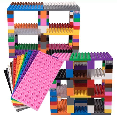"Strictly Briks Classic Big Brik Tower Set by 100% Compatible with All Major Brands | Large Pegs for Toddlers | 12 Big Brik Base Plates in Rainbow Colors (7.5"" x 3.75"") and 96 Assorted Big Briks"