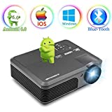 Wireless Projector Wifi Bluetooth 3600 Lumens (2018 Updated), Portable HD LED Projector 1080p Support, Digital Home Theater Cinema Projector Indoor Outdoor Movie Game with HDMI USB TV Audio AV Ports