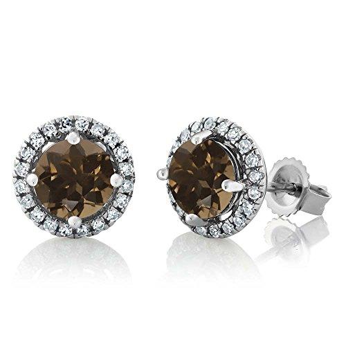 (14K White Gold Diamond Halo Earrings set with 1.81 Ct Round Brown Smoky Quartz)