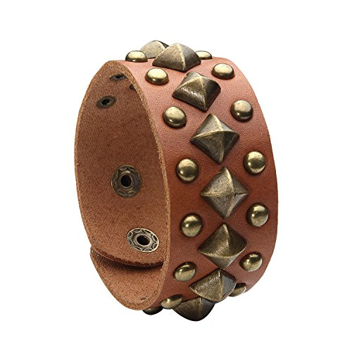 Wristband Pyramid Studded - BodyJ4You Brown Leather Bracelet Adjustable Wristband Metal Pyramid Men Casual Style Jewelry