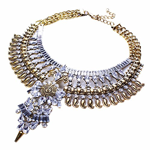 [Qiyun (TM) Baroque Vintage Retro Style Faceted Rhinestone Festoon Chandelier Bib Necklace] (Cute Unique Costumes)