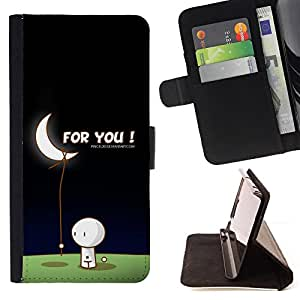 DEVIL CASE - FOR Sony Xperia m55w Z3 Compact Mini - Moon Art Love Man Bring Stars Romance Gift - Style PU Leather Case Wallet Flip Stand Flap Closure Cover
