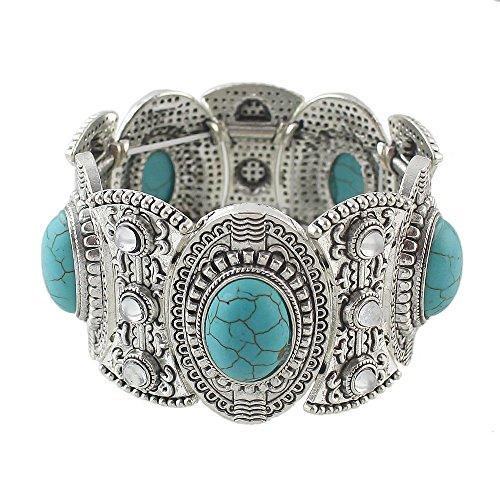 Tibetan Silver Imitation Turquoise Stone Elastic Wide Bracelet Bangle