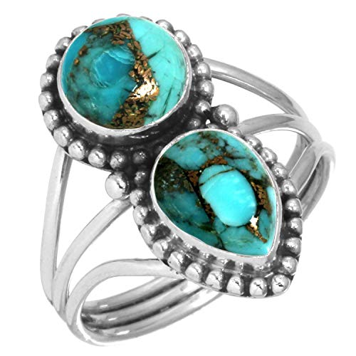 Copper Blue Turquoise Ring 925 Sterling Silver Handmade Jewelry Size 8.5