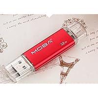 Aller 32GB Dual USB Flash Drive U Disk - Red