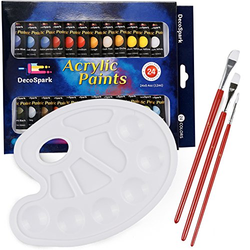 Acrylic Paint Set - 24 X 12ml Tubes, 3 Free Brushes And Palette   Rich...