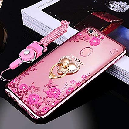 timeless design 6175a eaf25 Loxxo® Back Cover for Oppo F9 Pro Bling Shiny Diamond Rhinestone with 360  Degree Rotating Ring Stand TPU Case Cover for Oppo F9 Pro (Rose Gold)