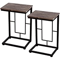 Tangkula 2 PCS 22 Solid Wood Coffee Tray Side Sofa End Tables Antique Finish