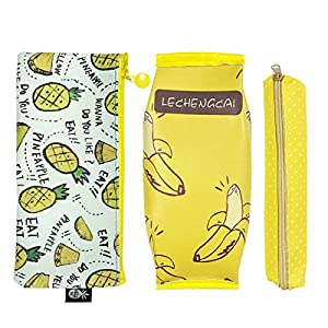 Wrapables Trendy Food Pencil Case and Stationery Pouches (Set of 3), Yellow