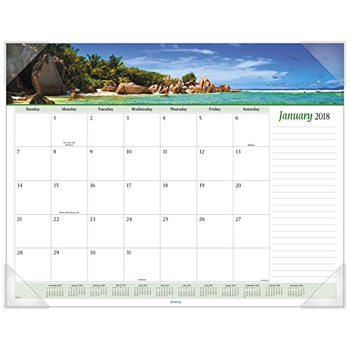 "AT-A-GLANCE Monthly Desk Pad Calendar, January 2018 - December 2018, 22"" x 17"", Panoramic, Seascape (89803)"