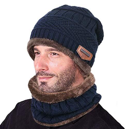 Invierno Gorros de Punto con Bufanda de Hombre Conjunto de Bufanda Sombrero con Forro de Lana para Hombre de Invierno Navy