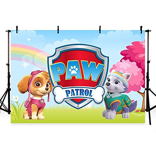 8Feet Width-6Feet High Paw Patrol Photography Backdrops Party Thin Vinyl Photography For Backdrop Movie Theme Digital Printed Photo Backgrounds For Photo Studio by Lyneshop