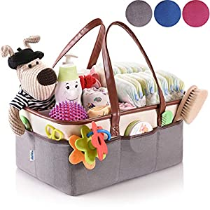 Baby Diaper Caddy Organizer – Grey Nursery Essentials Storage – Portable Basket for Car – Newborn Nursery Décor and Changing Table Accessory