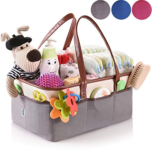 Baby Diaper Caddy Organizer - Nursery Essentials Storage - Portable Bag for Car (Baby Diapers Depot Bags)