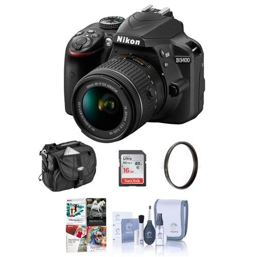 Nikon D3400 DX-Format DSLR Camera Body with AF-P DX NIKKOR 18-55mm F/3.5-5.6G VR Lens, Black - Bundle with 16GB SDHC Card, Camera Bag, 55mm UV Filter, Cleaning Kit, Software Package