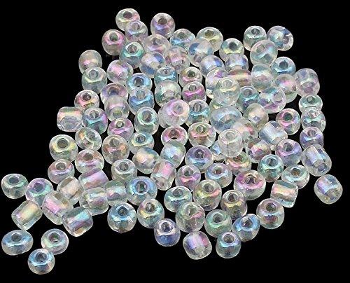 450g Rocailles Perlen Glasperlen 3mm Silbereinzug Weiß Crystal AB 8/0 15000 Rund Perlenhäkeln A115 Perlin A0115