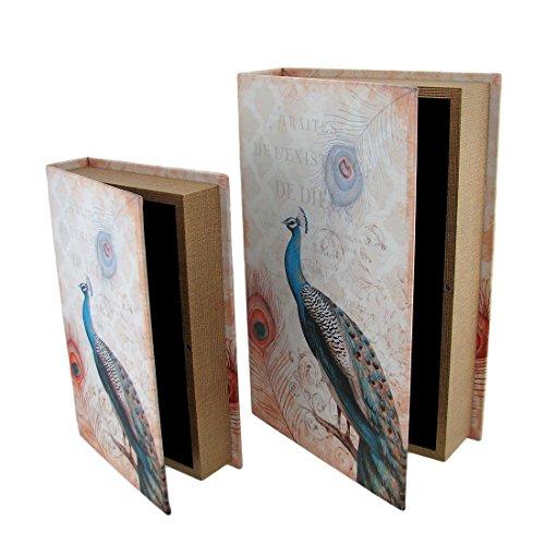 Faux Book Box Set (Wood Decorative Boxes Set Of 2 Peacock Print Faux Leather Book Secret Stash Boxes 13 X 9 X 3 Inches Multicolored)