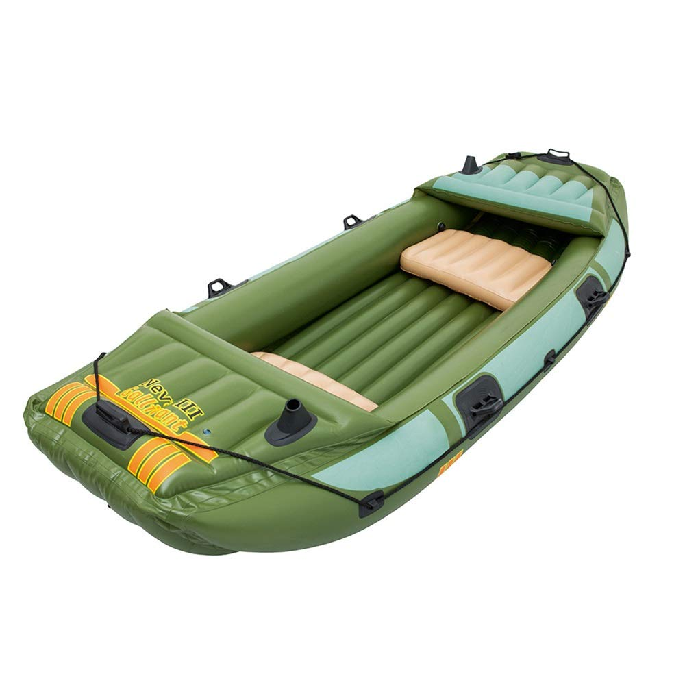 Teerwere-pht Double Inflatable Kayak Summer Three Thick Fishing Boat Inflatable Boat Dinghy Leather Kayak Kayak Hovercraft Kayak Set (Color : Green, Size : 3.161.24M) by Teerwere-pht