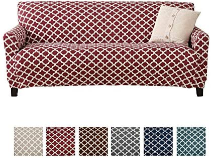 Amazon Com Home Fashion Designs Printed Twill Sofa Slipcover One Piece Stretch Couch Cover Strapless Sofa Cover For Living Room Brenna Collection Slipcover Sofa Burgundy Home Kitchen