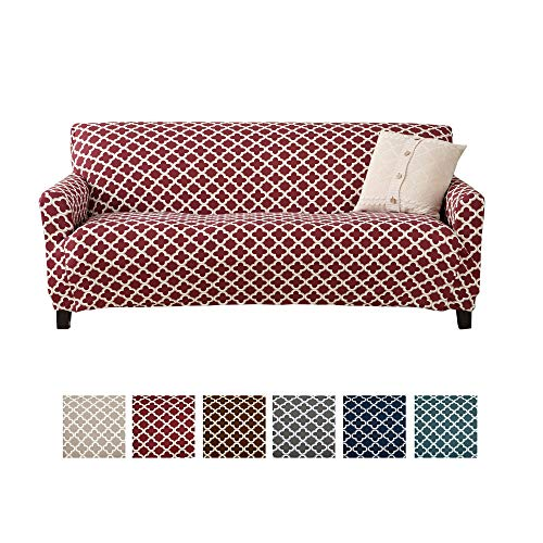 Home Fashion Designs Printed Twill Sofa Slipcover. One Piece Stretch Couch Cover. Strapless Sofa Cover for Living Room. Brenna Collection Slipcover. (Sofa, Burgundy) (Couch Cushions Red)
