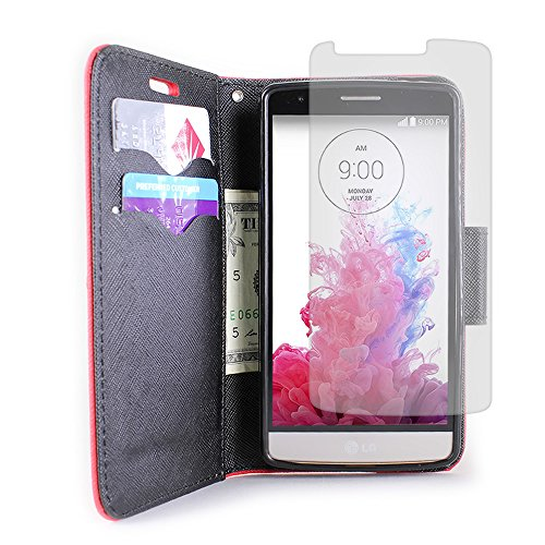 CarryAll Series by CoverON® LG G3 Vigor Wallet Pouch Flip Stand Case Heavy Duty Red / Black Protective Cover with Inner TPU Shell + Screen Protector for LG G3 Vigor (Will Not Fit LG G3)