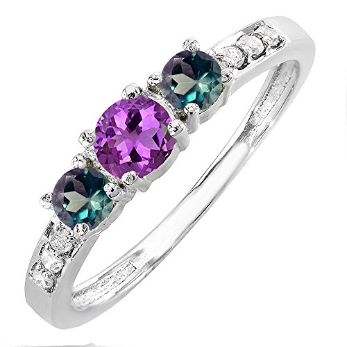 Dazzlingrock Collection 14K Amethyst, Alexandrite & White Diamond Three Stone Engagement Ring 1/2 CT, White Gold, Size 6.5