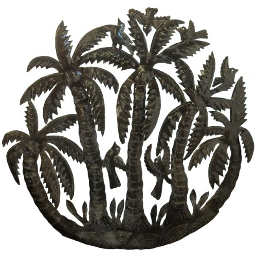 Haitian Drum Recycled Steel (Le Primitif Galleries Haitian Recycled Steel Oil Drum Outdoor Decor, 23 by 23-Inch, Cluster of Palms)