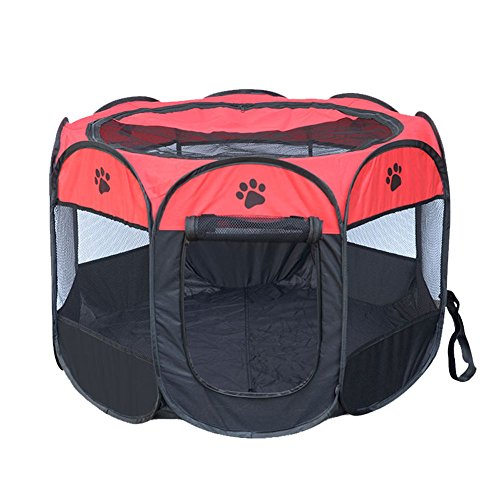 Machao Pet Foldable Exercise Kennel Dogs Cats Rabbits Pigs Indoor/outdoor Removable Tent Playpens Mesh-Red1