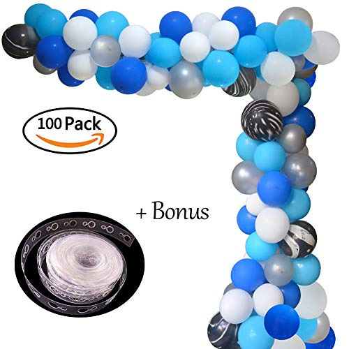 Balloon Arch Garland Kit Blue White Gray Balloons Bouquet Kit Royal Baby Shower Balloons Backdrop Graduation Bridal Shower Birthday Party Decorations Blue -