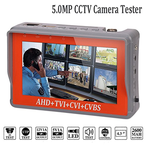4 in 1 CCTV Tester for 1080P/3.0mp/4.0mp/5.0 Megapixel AHD, TVI, CVI, CVBS Analog Security Camera, 4.3 inch LCD Screen Video Monitor, 12V 1A DC Power Out, PTZ/UTP Cable/Audio Tester w/2600mAh Battery