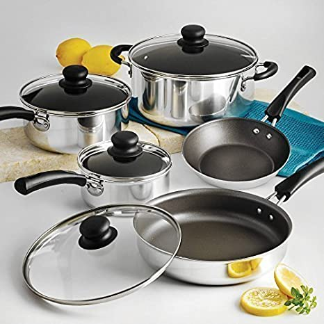 NEW 9-Piece Simple Cooking Nonstick Cookware Set Polished