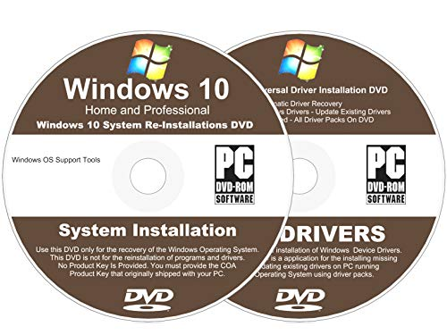 Windows 10 All-In-1 32 & 64 bit Reinstall Install DVD Disc Home and Professional - 2018 Universal Driver Install Disc - No Internet Needed - 2 Disc Installation Kit