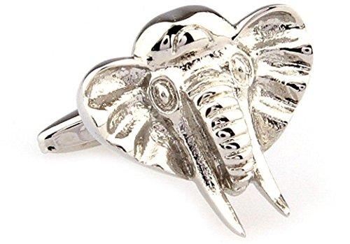 Cufflinks Gold Elephant - MRCUFF Elephant Head Pair Cufflinks in a Presentation Gift Box & Polishing Cloth
