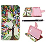 Note 5 Case, Galaxy Note 5 Case, iYCK Premium PU Leather Flip Folio Carrying Magnetic Closure Protective Shell Wallet Case Cover for Samsung Galaxy Note 5 with Kickstand Stand - Tree and Leaf